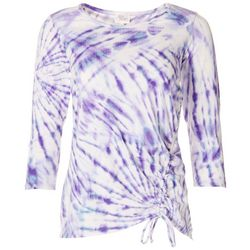 Ava James Womens Tie Dye Elastic Tie Top