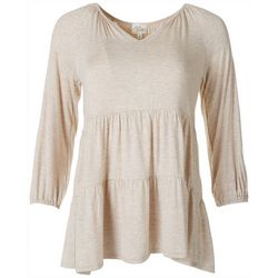 Ava James Womens Solid Tiered Top