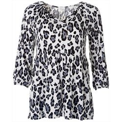 Ava James Womens Leopard Print Tier Top