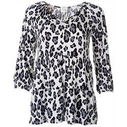 Ava James Womens Leopard Print Tier Top