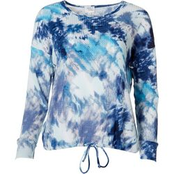 Ava James Womens Tie Dye Print Tie Hem Top