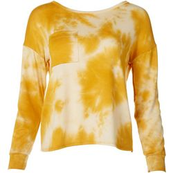Ava James Womens Tie Dye Pocket Long Sleeve Top