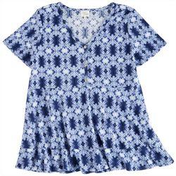 Ava James Womens Printed Short Sleeve Top