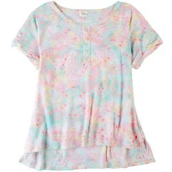 Ava James Womens Tye Dye Short Sleeve Top With Buttons