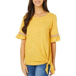 Dept 222 Womens Ruffle Short Sleeve Side Tie Top