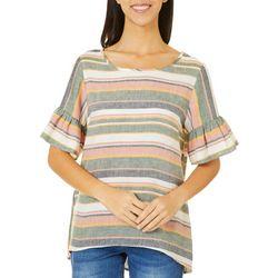 Womens Ruffle Striped Short Sleeve Top