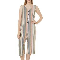 Dept 222 Womens Striped Button Down Cropped Jumpsuit