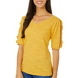 Dept 222 Womens Ruffle Sleeve V-Neck Top