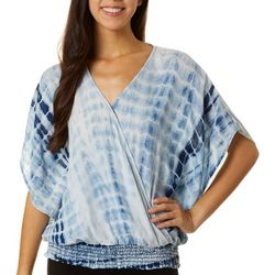 Dept 222 Womens Tie Dye Wrap Smocking Top