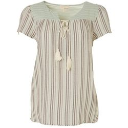 Dept 222 Womens Striped V-Neck Tie Top