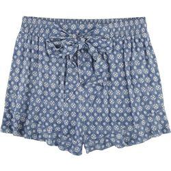 Dept 222 Womens Damask Tie Waist Ruffle Hem Shorts