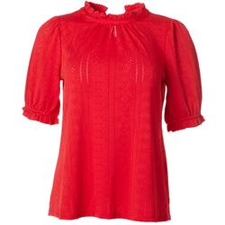 Womens Solid Eyelet Detail Knit Top
