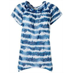 Dept 222 Womens Tie Dye Stripe Off The Shoulder Top