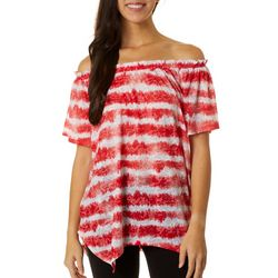 Dept 222 Womens Tie Dye Stripe Off The Shoulder Top