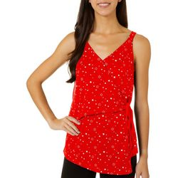 Dept 222 Womens Star Print Faux Wrap V-Neck Sleeveless Top