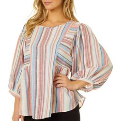 Dept 222 Womens Striped Round Neck Top