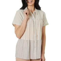 Dept 222 Womens MMixed Stripe Button Down Short Sleeve Top