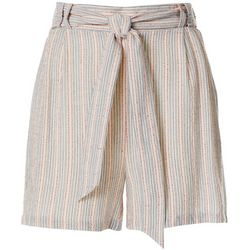 Dept 222 Womens Striped Tie Waist Shorts