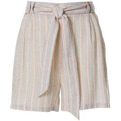 Dept 222 Womens Striped Tie Waist Shorts