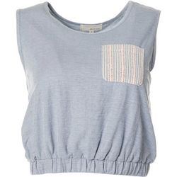Womens Solid Stripe Banded Hem Sleeveless Top