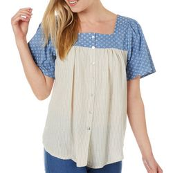 Dept 222 Womens Mxed Stripe Dot Print Short Sleeve Top