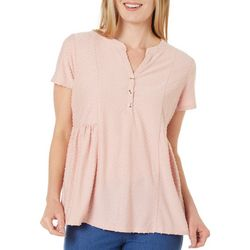 Dept 222 Womens Textured Solid Peplum Detail Top