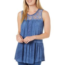 Dept 222 Womens Solid Lace Neckline Sleeveless Top