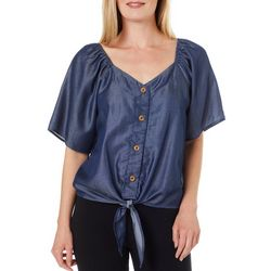 Ava James Womens Button Down Tie Front Short Sleeve Top