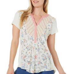 Dept 222 Womens Mixed Floral Stripe Short Sleeve Top