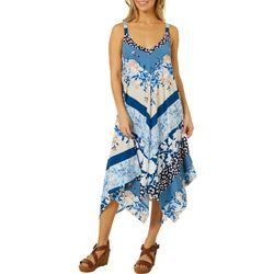 Mixed Print Handkerchief Hem Dress