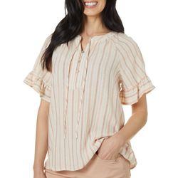 Dept 222 Womens Striped Ruffle Trim Short Sleeve Top
