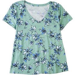 Dept 222 Womens Floral Garden V-Neck Top