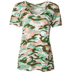 Dept 222 Womens Camo Chest Pocket V-Neck T-Shirt