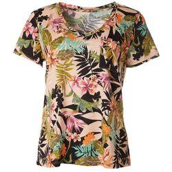 Dept 222 Womens Tropical Pocketed V-Neck Shirt