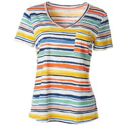 Dept 222 Womens Multi Striped V-Neck Pocketed T-Shirt