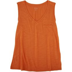 Dept 222 Womens V-Neck Luxey Sleeveless Top