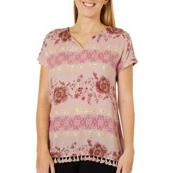 Dept 222 Womens Floral Geo Print Short Sleeve Top