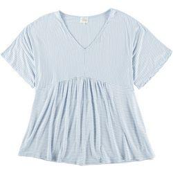 Ava James Womens Stripe Short Sleeve Top