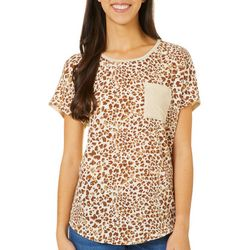 Dept 222 Womens Front Pocket Leopard Short Sleeve