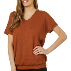 Dept 222 Womens Solid Waffle Knit Short Sleeve Top