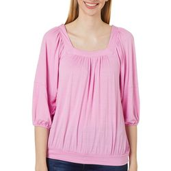Dept 222 Womens 3/4 Puff Sleeve Square Neck Top