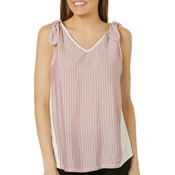Womens Striped Tie Detail Sleeveless Top