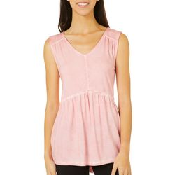 Dept 222 Womens Mineral Wash V-Neck Sleeveless Top