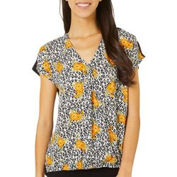 Dept 222 Womens Animal Floral Print Short Sleeve Top