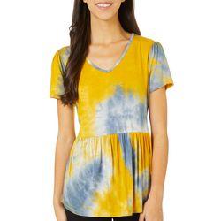 Dept 222 Peplum Tie Dye V-Neck T-Shirt