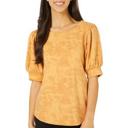 Womens Mineral Wash Puff Sleeve Top