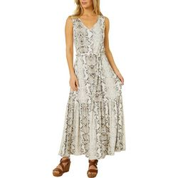 Womens Sleeveless Ribbed Snake Print Maxi Dress