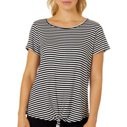 Dept 222 Womens Ribbed Tie Front Striped Short Sleeve Top
