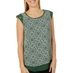 Dept 222 Womens Geometric Crochet Detail Sleeveless Top