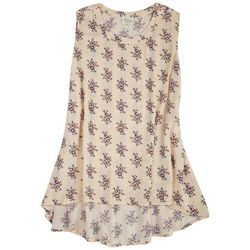 Ava James Womens Print Sleevless Printed Top